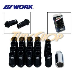 Work Racing Rs-r Extended Forged Aluminum Lock Lug Nuts 12x1.5 1.5 Black Open H