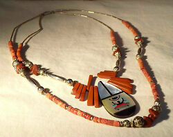 Powerful Navajo Necklace Hematite And Coral