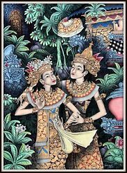 Original Traditional Balinese Painting The Dancers 35 H X 25.25 W