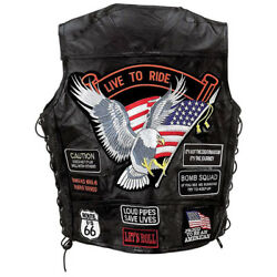 Biker Vest Lace-Up Buffalo Leather Motorcycle USA Flag Eagle w 14 Patches S-6XL