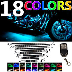 16pc Million Color Flexible Strip Motorcycle 156 LED Neon Accent Lighting Kit