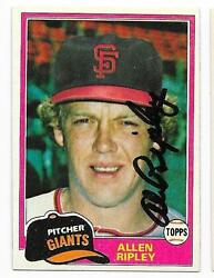 Allen Ripley 1981 Topps Autographed Signed 144 Giants Deceased