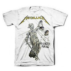 METALLICA T-Shirt Justice For All WHITE New Authentic Rock Metal S-3XL $18.80