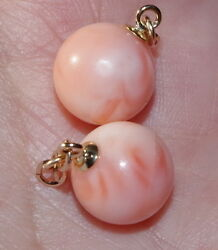 Antique 14k Italy Angel Skin Coral11mm High Gloss Ball Earrings Jackets