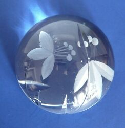 Royal Doulton Crystal Glass Etched Flower Floral Dome Paperweight. England