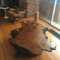 Great Orig. 1970's Old Growth Redwood Lace Burl Root Cocktail Table 63