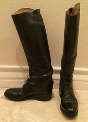 Effingham By Bond Co Equestrian Riding Field Boots Black Leather Lace-up 5.5 M