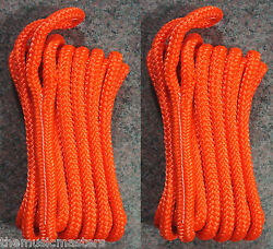 2 Orange Double Braided 1/2 X 15and039 Ft Boat Marine Hq Dock Lines Mooring Ropes
