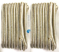2 Gold/white Double Braided 1/2 X 15and039 Hq Boat Marine Dock Lines Mooring Ropes