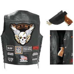 CCW LEATHER VEST Concealed Carry Buffalo Motorcycle Biker w Holster 16 Patches