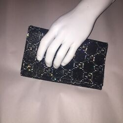 pre-loved authentic GUCCI Swarovsky wrapped Satin ENVELOPE CLUTCH retail $3250