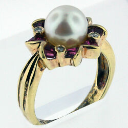 8mm Cultured Pearl Ring Yellow Gold 50fa1