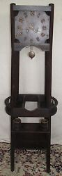 Arts And Crafts Mission Oak Tall Case Antique Clock With Tiny Oak Buckets