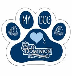 Old Dominion Monarchs Paw Decal Sticker-my Dog Loves Old Dominion Sticker