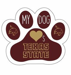 Texas State Bobcats Paw Decal Sticker-my Dog Loves Texas State Sticker
