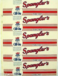 Vintage Bread Wrapper Spanglers Enriched Uncle Sam Pictured Unused New Old Stock