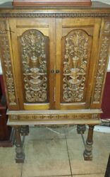 Early 1900 Hand Carved Cabinet. One Shelf On Inside. Asking 2,400.00 Firm.