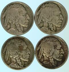 4 First Year 1913 Buffalo Nickel Us Coins Lot E681