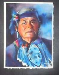 Turquoise Blue Transparent Watercolor Native American 11 X 15 Martin Arriola
