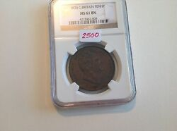 1834 Great Britain Penny Ngc Ms 61 Brown