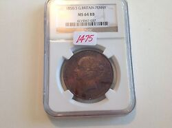 1858/3 Great Britain Penny Ngc Ms 64 Red Brown
