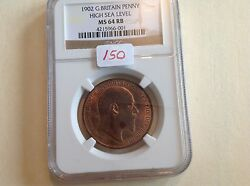 1902 Great Britain Penny High Sea Level Ngc Ms 64 Red Brown