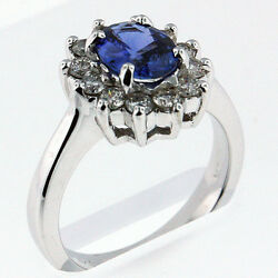 1.20ct Sapphire Ring With .58ct Diamonds In White Gold