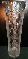 15 Cut With Etched Panel Cylindrical Leaded Crystal Vase