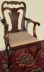 19th C Queen Anne Style Antique Arm Chair In Burled Walnut With Slipper Feet