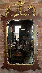 Chippendale Antique Styled Large Constitutional Mirror With Gold Phoenix Bird