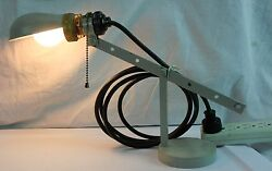 Vintage Art Deco Industrial Desk Table Lamp With Hubbell Shade Socket Cast Metal
