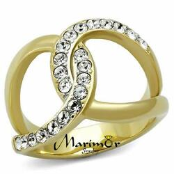 Stainless Steel 14k Gold Plated Crystal Infinity Fashion Ring Womenand039s Size 5-10