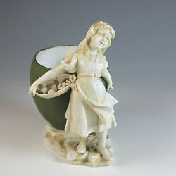 Antique Schwarza Saalbahn Porcelain Figurine Of A Young Girl And Planter