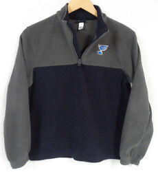 Gear For Sports Youth Navy Gray Fleece Pullover St. Louis Blues Note Size L Guc