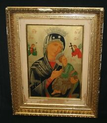 Antique Victorian Our Lady Of Perpetual Help Icon Print And Gold Frame Mary Jesus