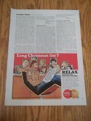 1973 Vintage Print Ad For Master Charge Card Man With Long Christmas List 8x5.5