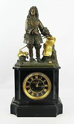 Antique French High Quality 19th Century Mantel Bronze Clock 20 Tall Need Work