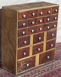 Early 19th C Sponge Paint Decorated Tin Drawer Antique Spice Chest - Maine