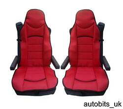 Red Premium Padded Seat Covers Set Of 2 Cushions For Volvo 16 Fh16 Fh12 Fl Fe Fm