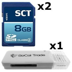 2 Pack - Lot Of 2 Sct 8gb Sd Hc Class 4 Sdhc Secure Digital Flash Memory Card