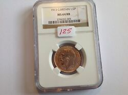 1913 Great Britain Half Penny Ngc Ms 64 Red Brown