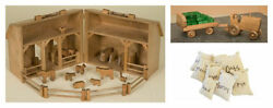 Handcrafted Wooden Toy Farm Barn Wood Play Animals Tractor Wagon Hay Bales Usa