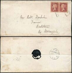 PENNY RED PAIR SCOTS LOCAL USED as CANCEL...CLERK STREET BOXED + SEAL