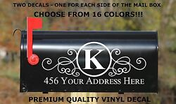 CUSTOM PERSONALIZED VINYL MAILBOX DECAL #4 SET OF 2 16 COLOR CHOICES 5X12 $8.09