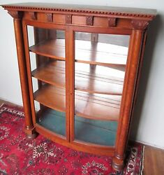 19th C Victorian Carved Oak Curved Glass Antique China Cabinet / Bookcase Paine
