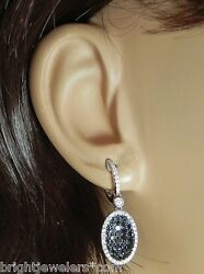 Sparkling Ladies 18k W/g 1.88 Cts. White And Black Diamonds Oval Drop Earrings