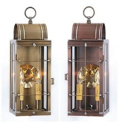 2 Candle Colonial Lantern Sconce Handcrafted In Weathered Brass And Antique Copper
