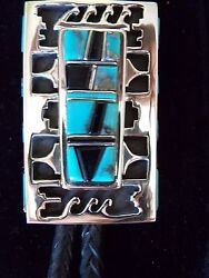 Overlaid Sterling Raised Turquoise And Black Onyx Bolo Tie By Billy Jaramillo