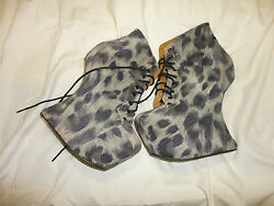Heeless-heel Suede Leopard Ankle Boots, Jeffrey Campbell Size 7 M Mild Scuff