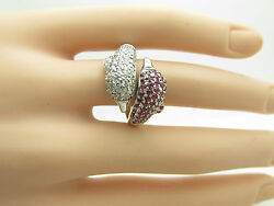 14kt W/g Genuine 2.00ct Diamond And Ruby Dolphin One Of A Kind Ring
